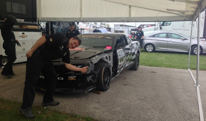 The CKS 00 car after an impact with the wall at the Road America Kink - one of the fastest corners of all North American racetracks (if not the fastest). Unfortunately the unibody was twisted after the impact.